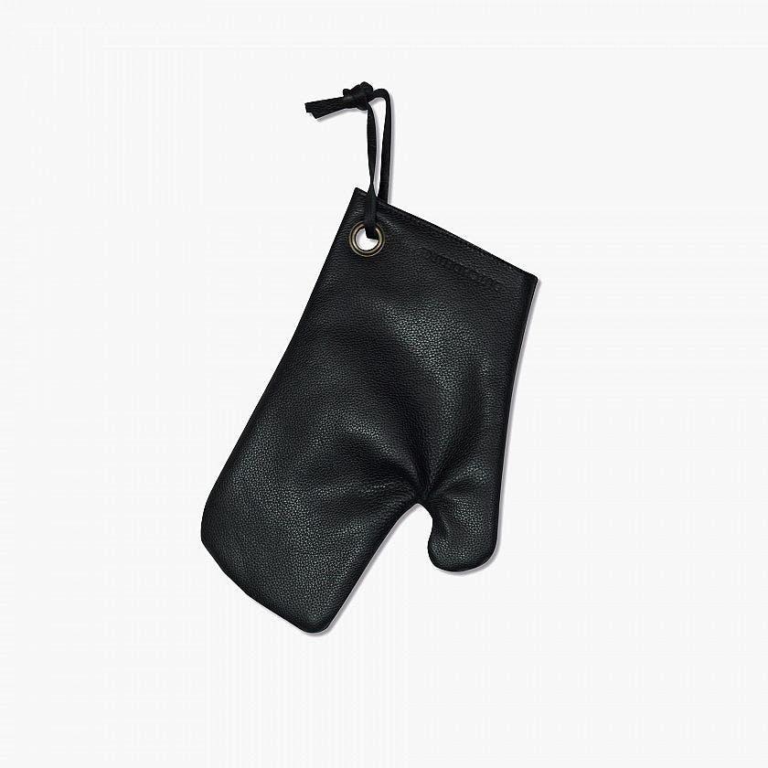 grillhandske i sort lælder med varmebeskyttende for
