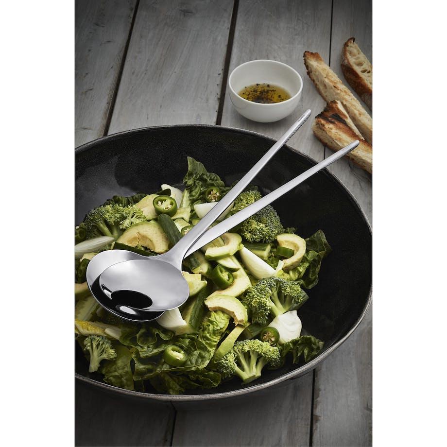 Global salatsæt i sort stål elegant