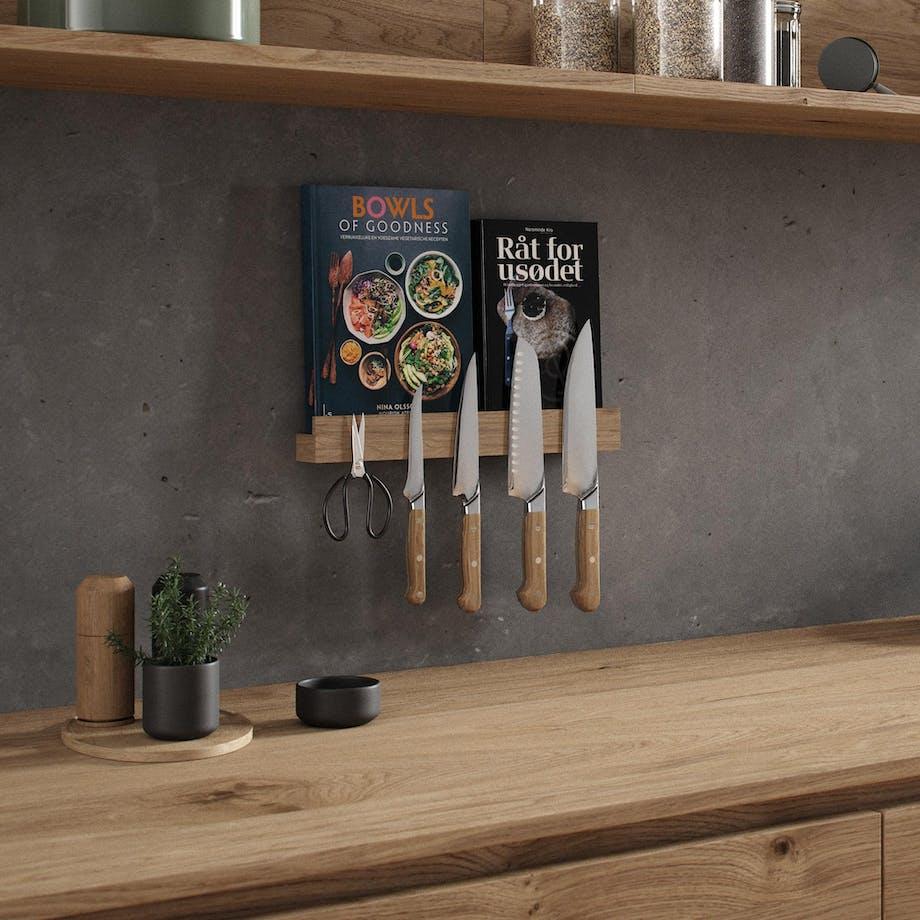magnet hylde fra By Wirth træ bogreol knivholder køkkenet