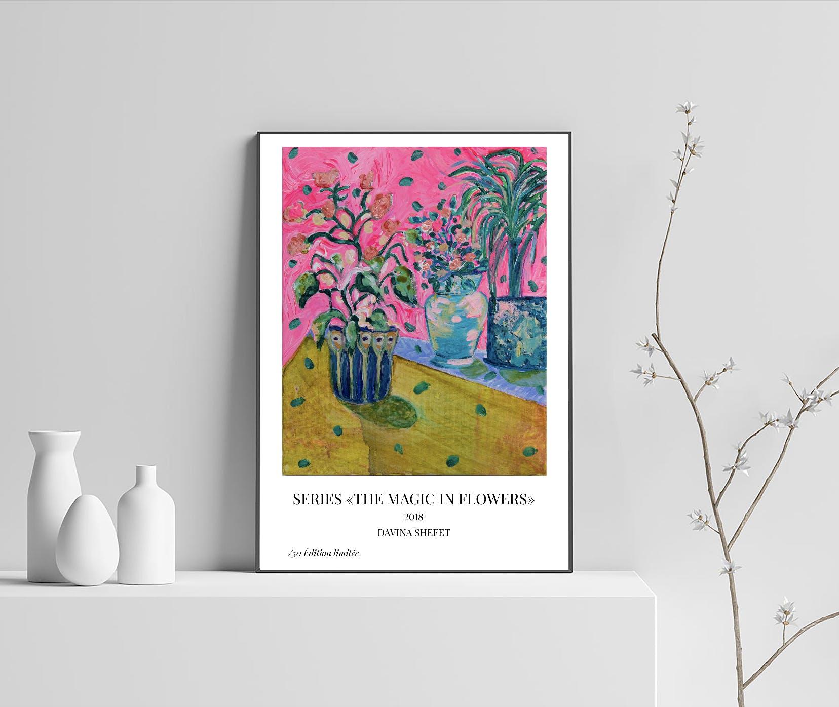 your little guru plakat blomster lyserød gul