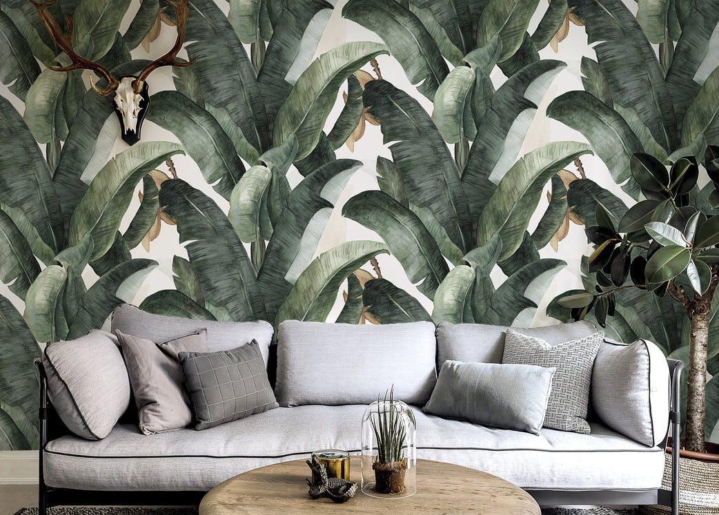 Tapet botanisk palmer grøn