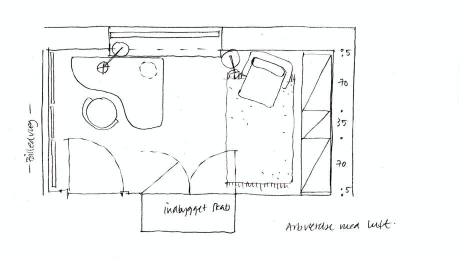 Lone Barslunds forslag til indretning af arbejdsværelset.