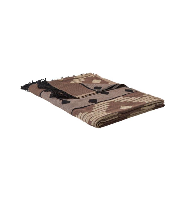 plaid tæppe magasin brun med mønster