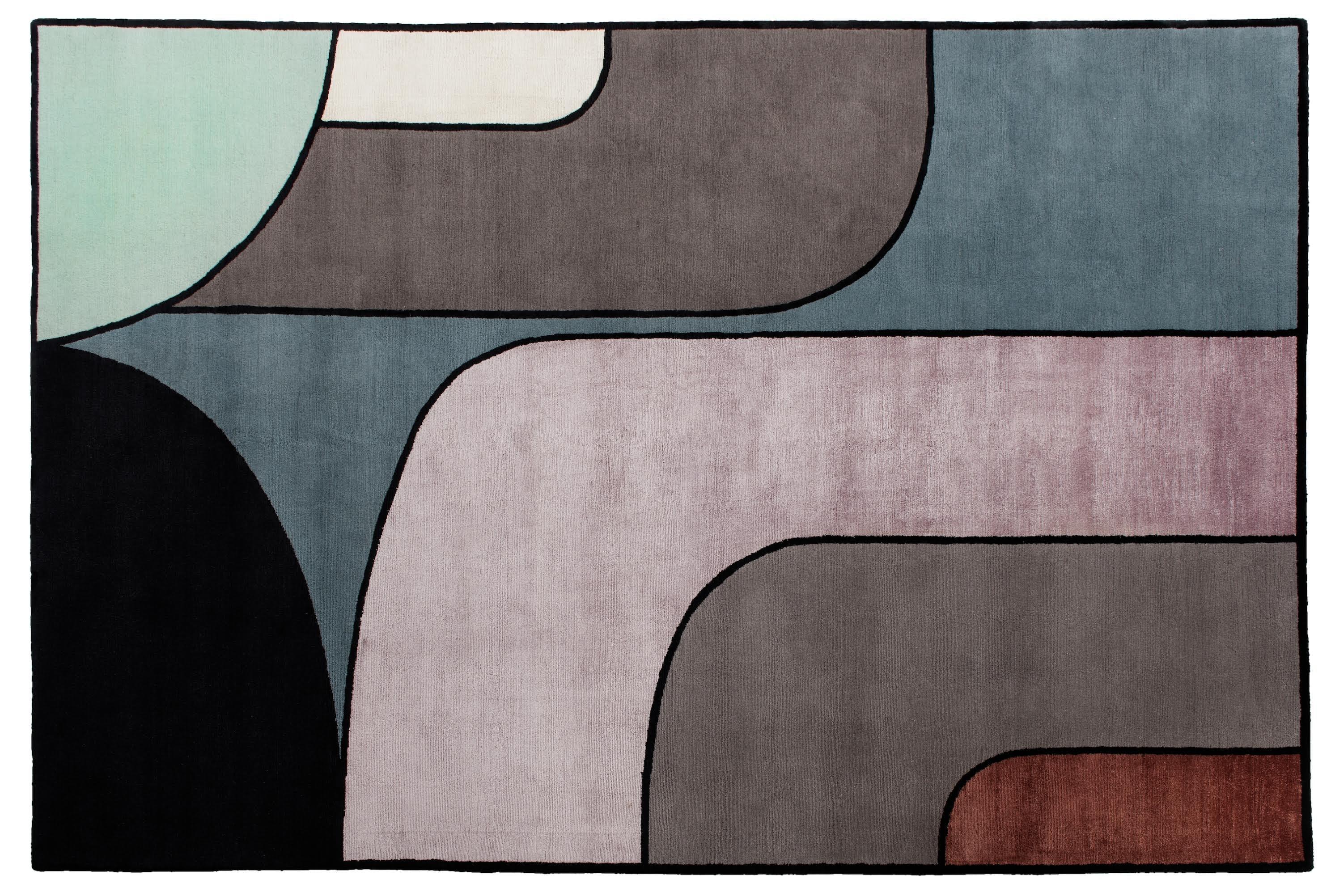 """Tæppet """"Fugue Soft"""" af tibetansk uld og silke fra MossRoom"""