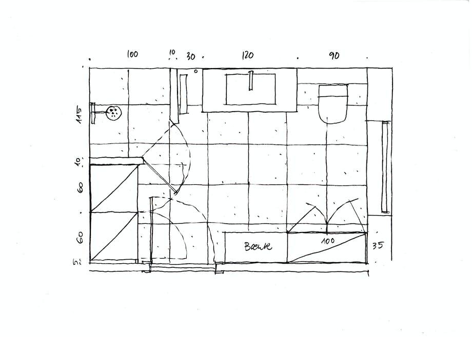 Plantegning efter Lone Barslunds forslag til indretning af badeværelset.