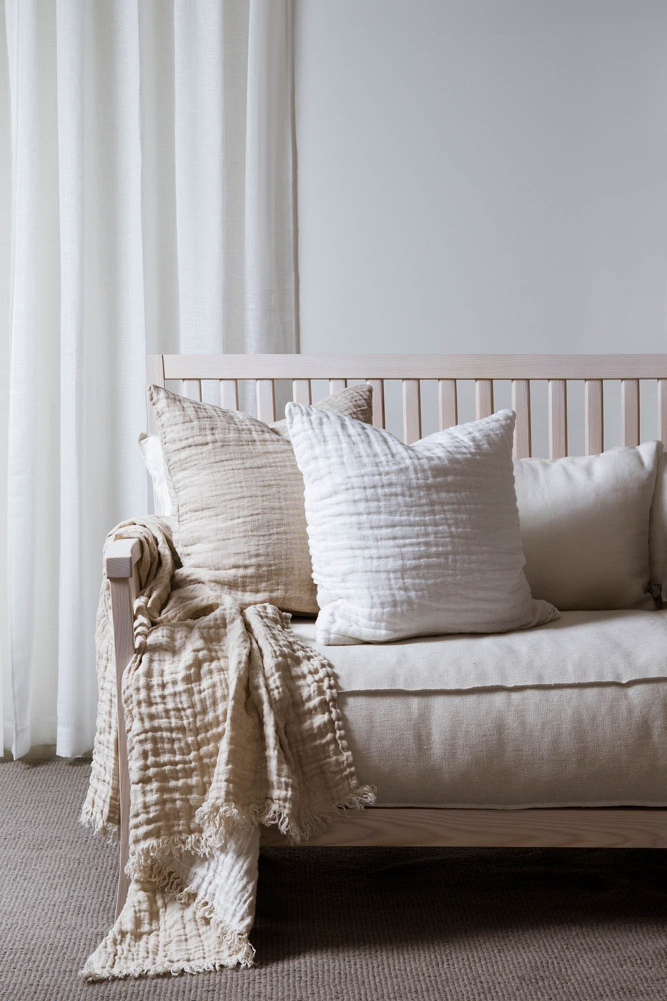 sofaer pude pude betræk plaid uld hvid