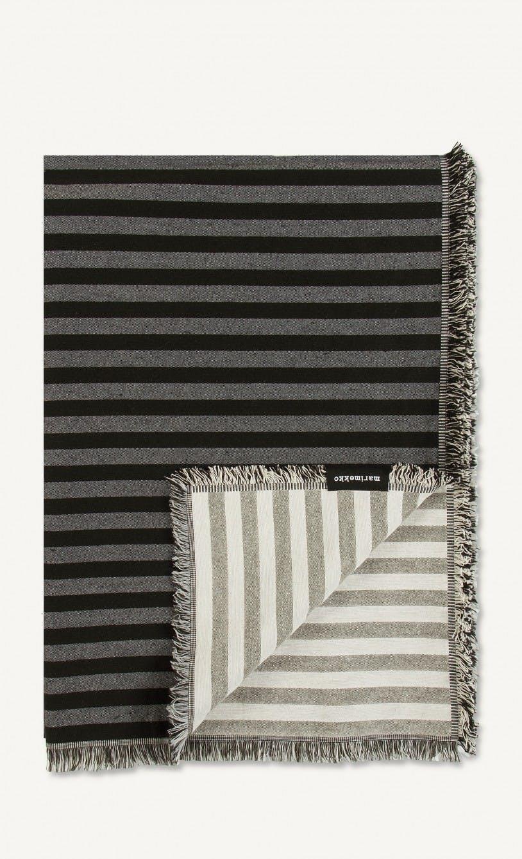 sofaer pude pude betræk plaid uld striber sort hvid