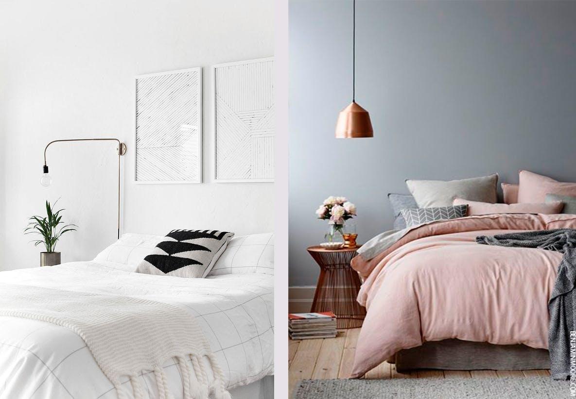Soveværelser senge sengetøj lamper minimalisme hvidt rosa indretning inspiration