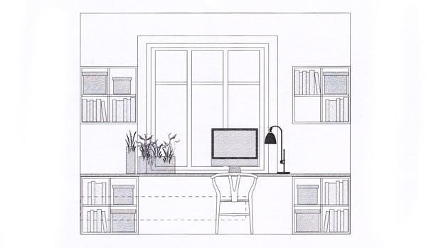 Tegning af Lone Barslunds forslag med placering af skrivebordet i soveværelset.