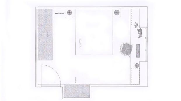 Plantegning af soveværelset efter Lone Barslunds forslag.