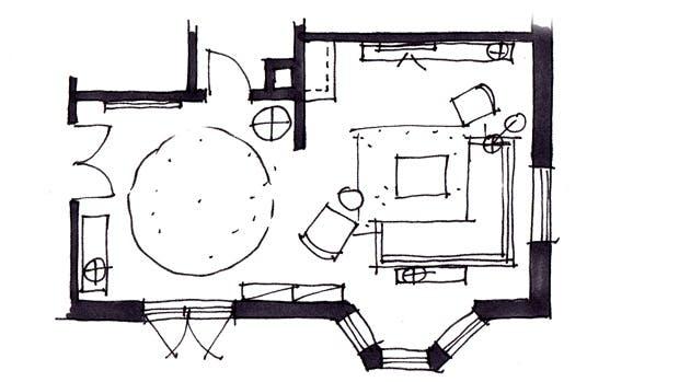 Plantegning af huset efter Lone Barslunds forslag.