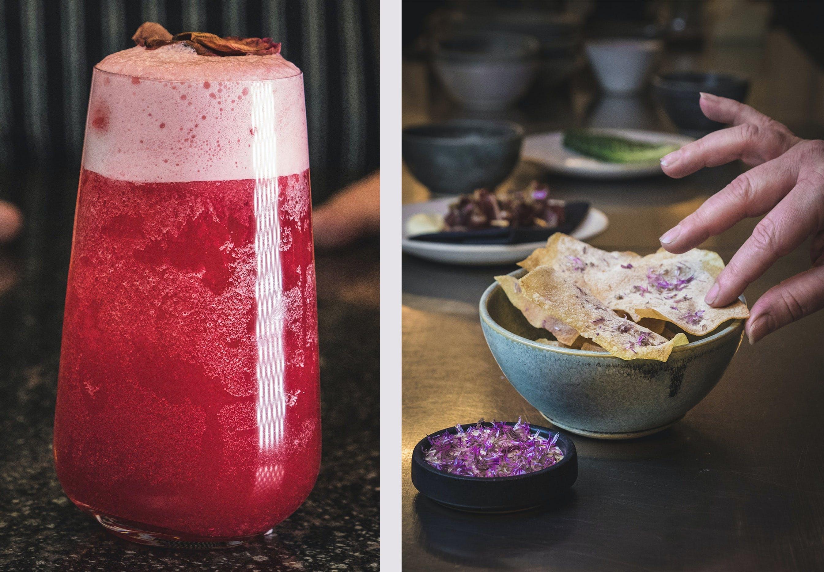 """Cocktailen """"Cherries"""" og en bar-snack hos cocktailbaren 1408"""