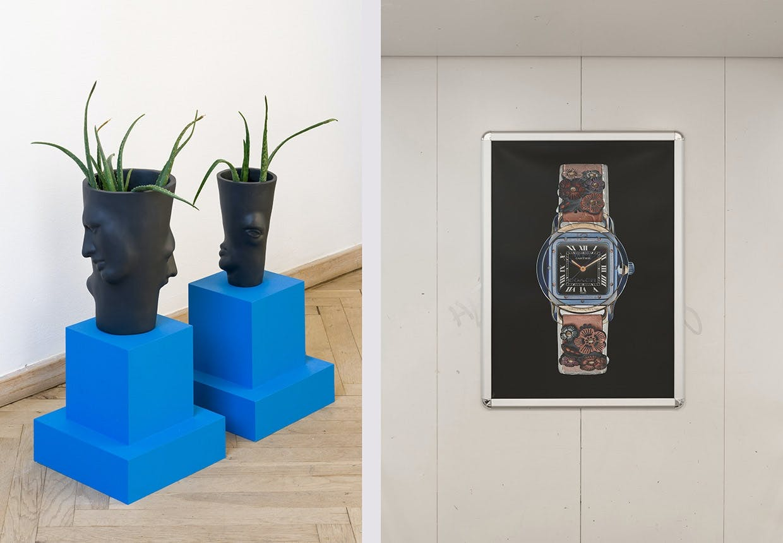"""Kunstværker af Ockie Basgül Dogan: """"Heavy Mental, Carte Bleue"""" og David Stjernholm: """"Ten Ten""""."""