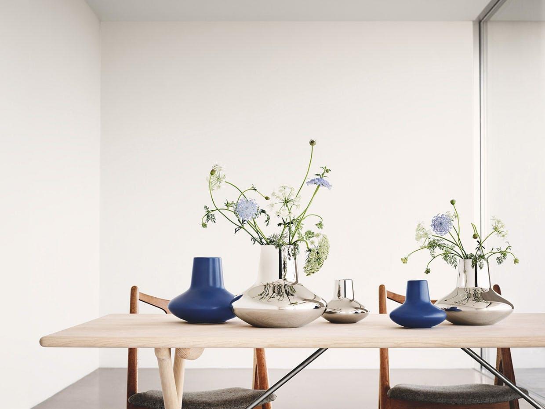 georg jensen vase blankt stål og blå keramik henning koppel