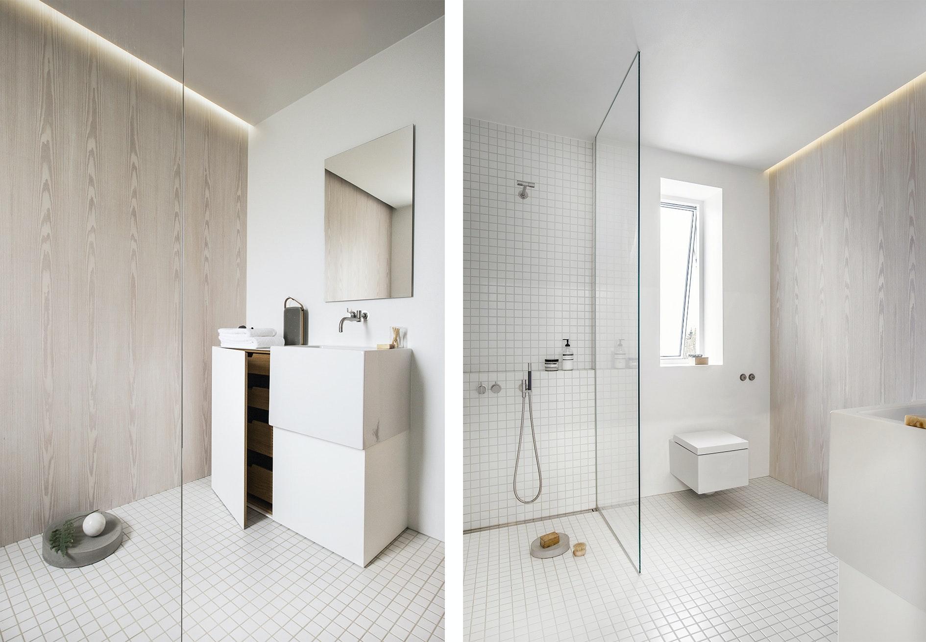 badeværelse hvidt lyst brusekabine toilet toiletmøbel