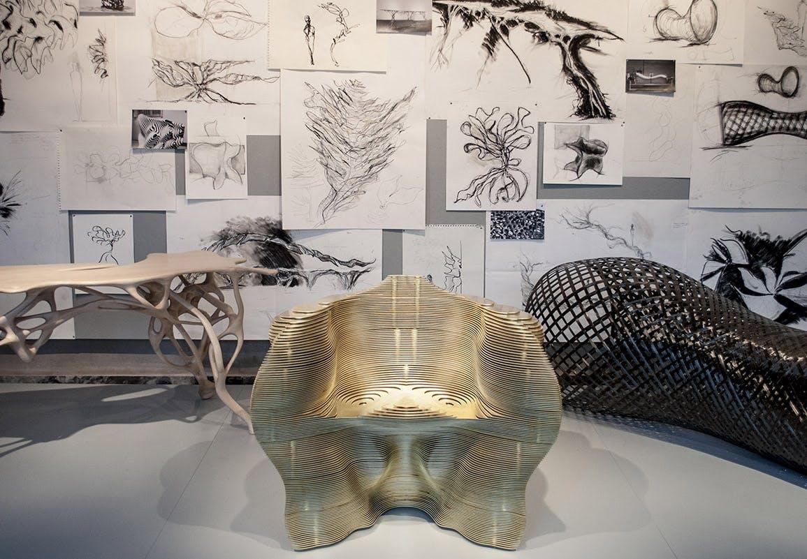 Mathias Bengtsson Organiske Transformationer slice chair brass stol unika-møbel dansk design Designmuseum Danmark