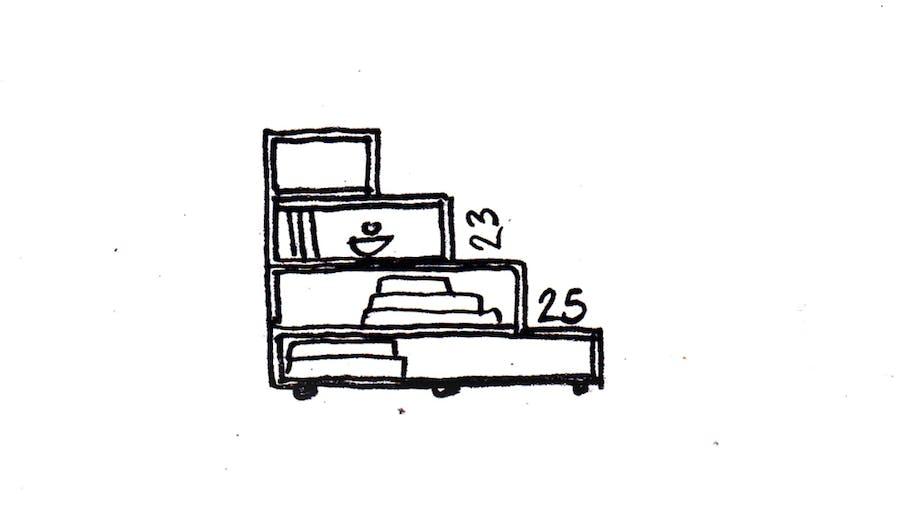 børneværelse og trappereol skal skabe hygge