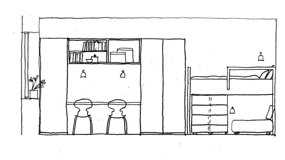 børneværelse med etageseng