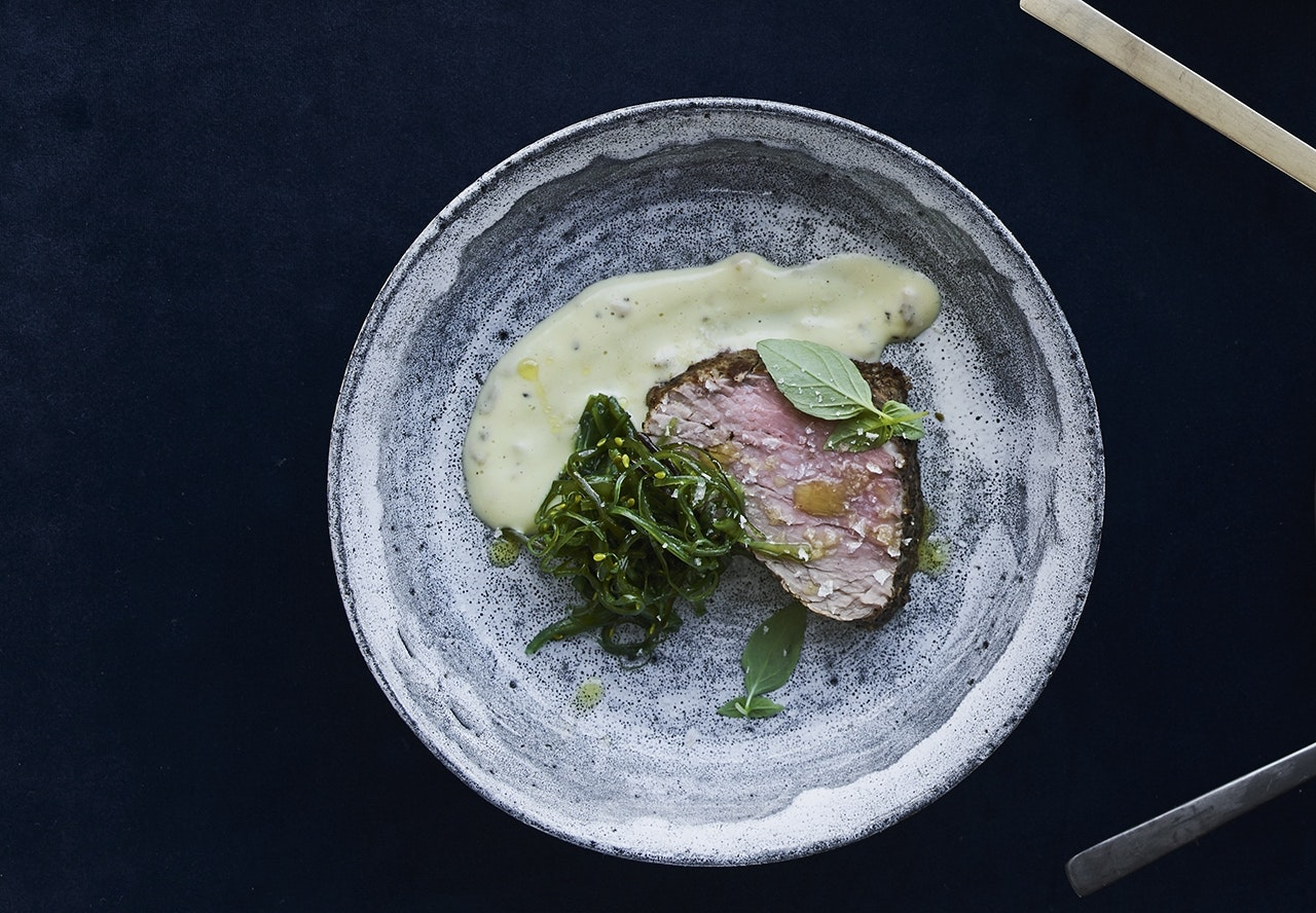 oksemørbrad østers mayo tang salat