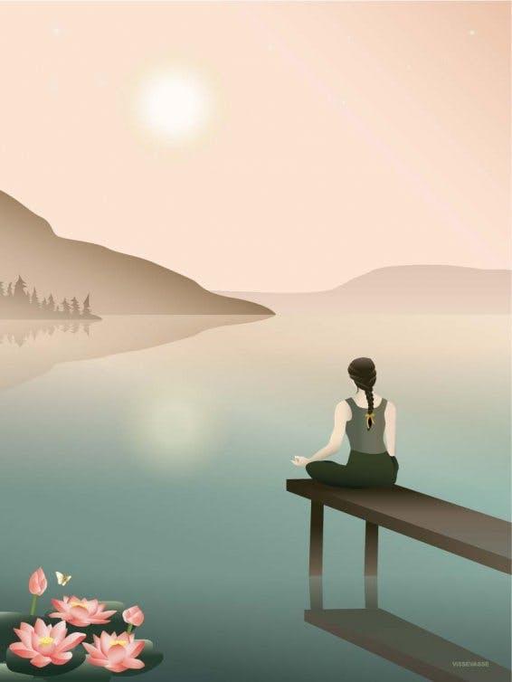 Plakat fra Vissevasse inspireret af meditation – her i en lotusstilling