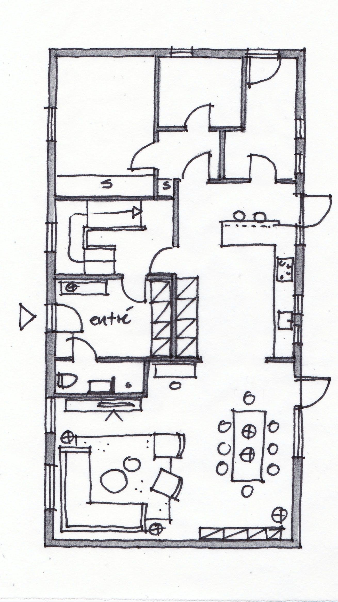 Plantegning af Nanna og Lasses hus – efter Lone Barslunds løsningsforslag.