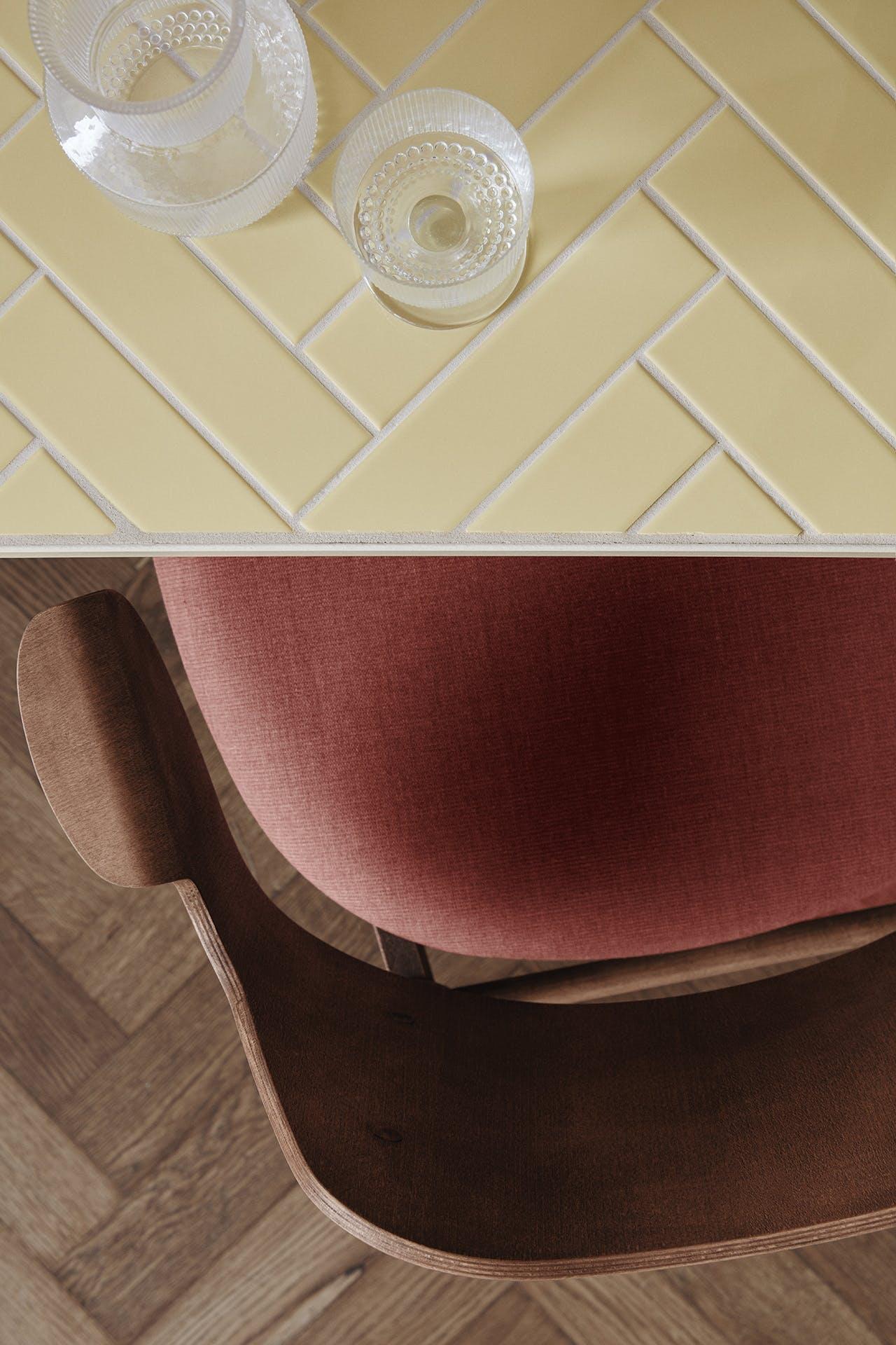 gesture chair herringbone tile warm nordic dansk design nyt brand