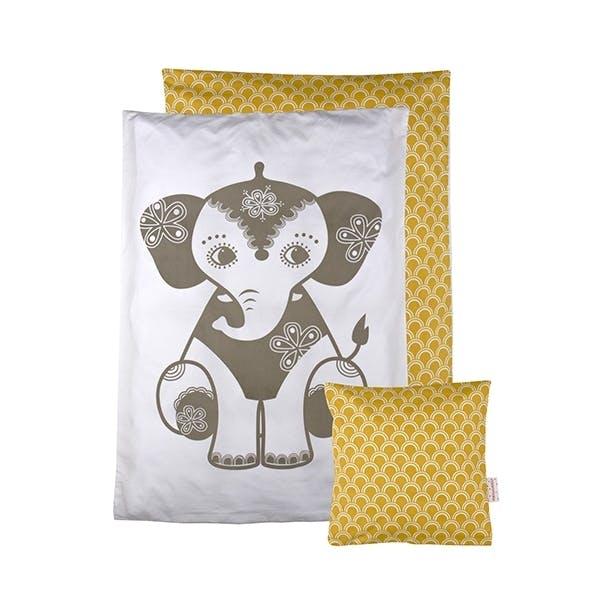 roommate sengetøj elefant gul