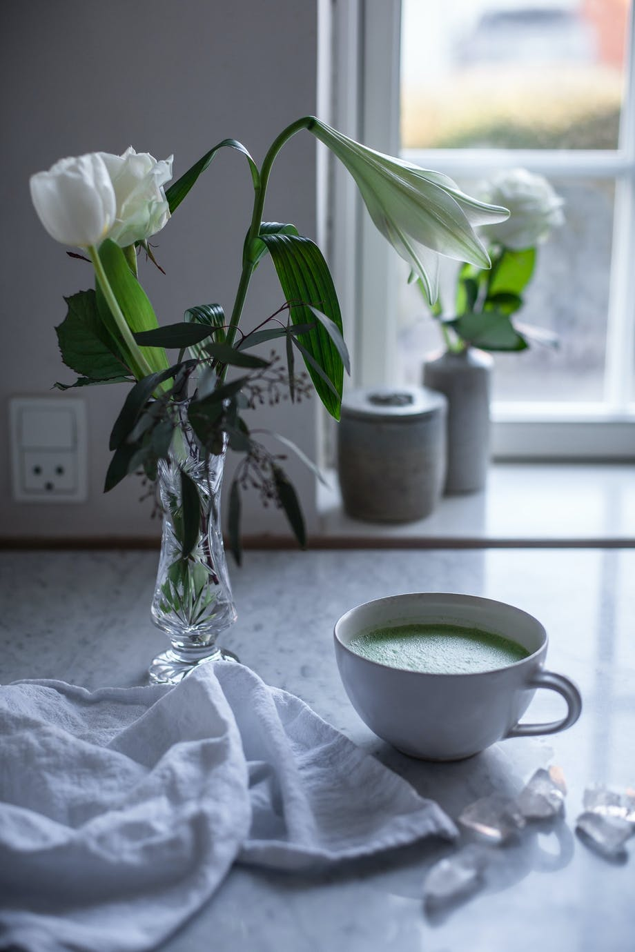 latte matcha latte kaffe grøn blomster