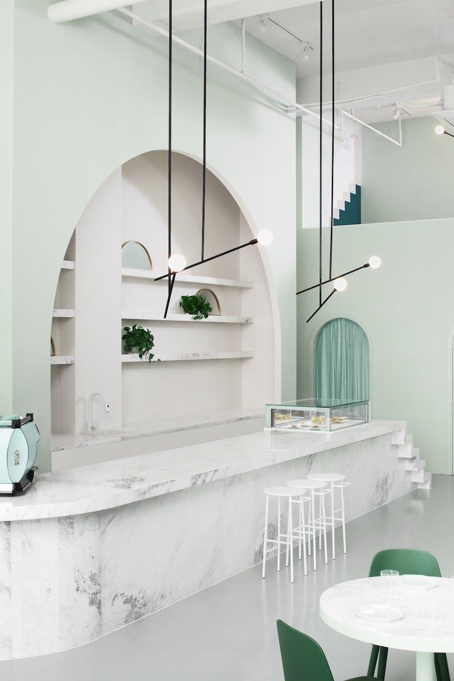 pastel farver feminin indrening cafe grøn mint bar