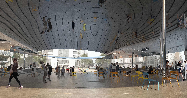 cobe bruxelle arkitektur arkitekt bygning stole spejl