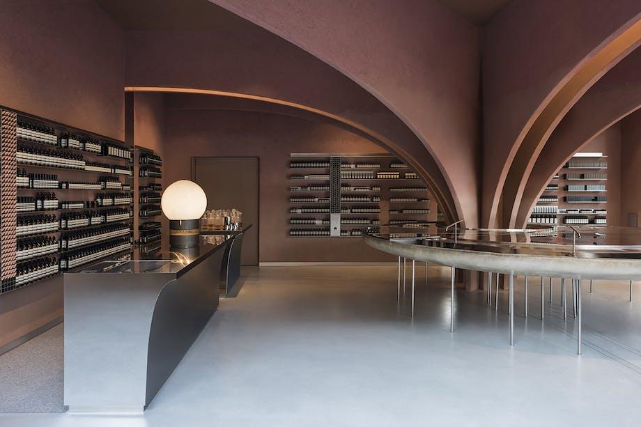 Aesop arkitektur showroom butiksinteriør snøhetta chelsea london jordfarver