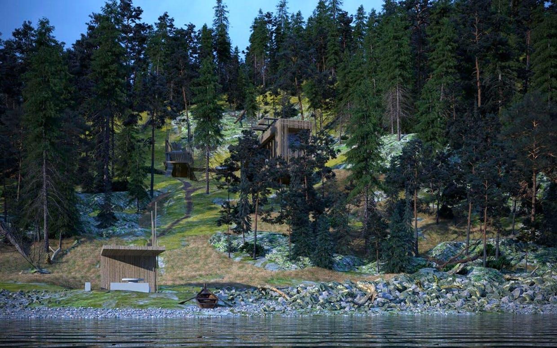 Et vue over det kommende hus, der skal være bygget af de materialer, der er på grunden.