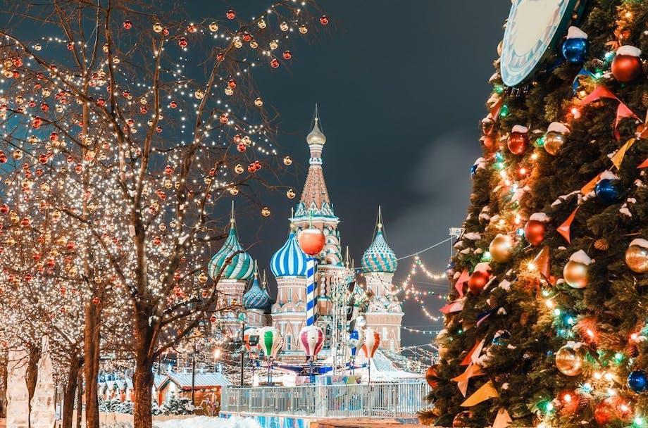 juleferie jule get away jul rejse moskva sne vinter vasilij katedralen