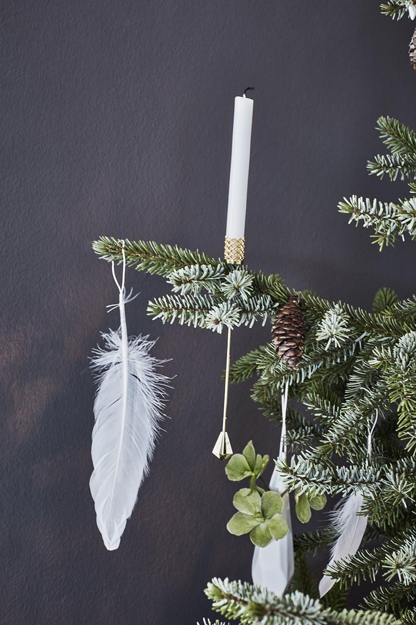 juletræ julepynt pynt til træet fjerpynt fjer lysholder