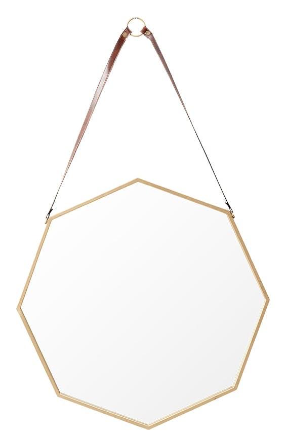 Ilva victorian ottekantet spejl i guld med læderstrop
