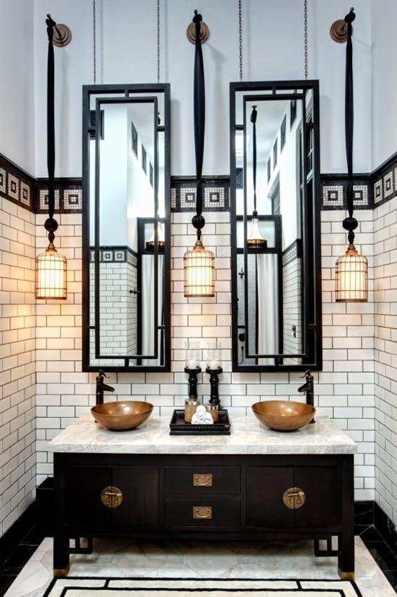 Grand Luxury Hotels badeværelse i bangkok i sort og hvidt