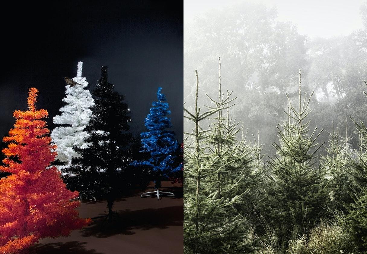 juletræ plastik naturtræ plantage