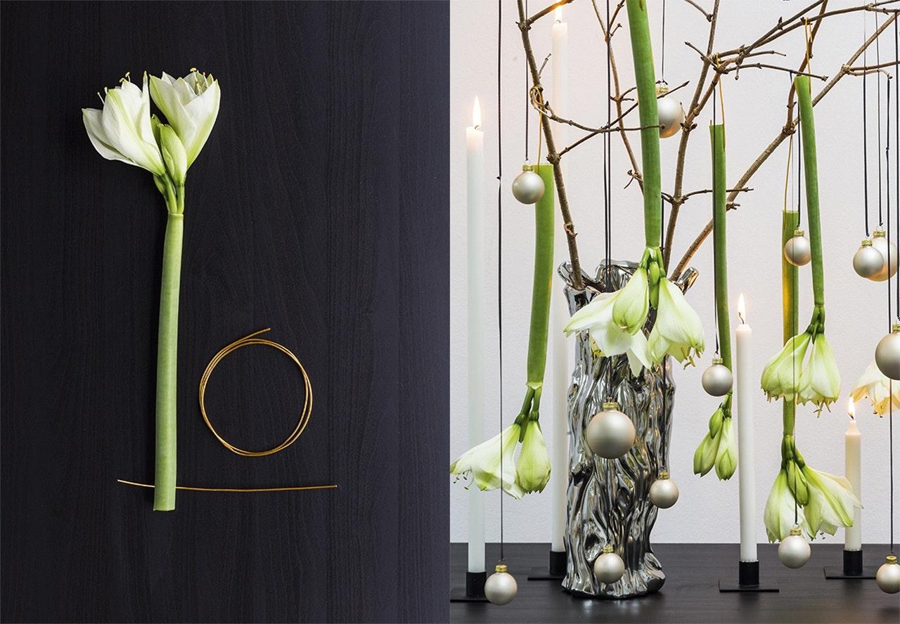 jul dekoration buket blomster annette von einem amaryllis