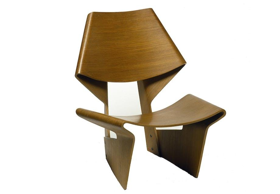grete jalk bow chair dansk design formspændt
