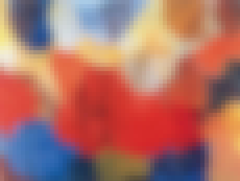 kunstplakat fra Louisiana abstrakt kunst medrøde og blå farver