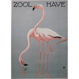 Plakaten plakat af to flamingoer i vandet