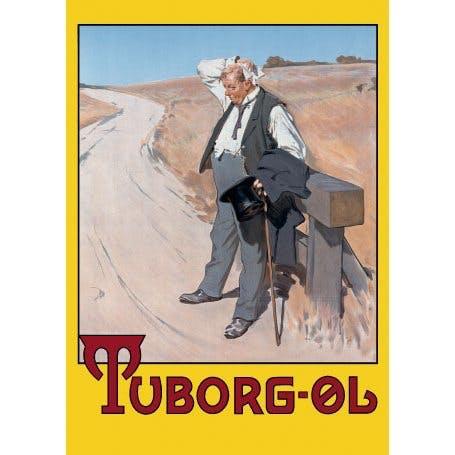 Plakaten plakat af tørstig mand fra tuborgreklame