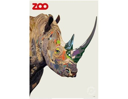 Michael Petersens plakat af et næsehorn lavet for zoo