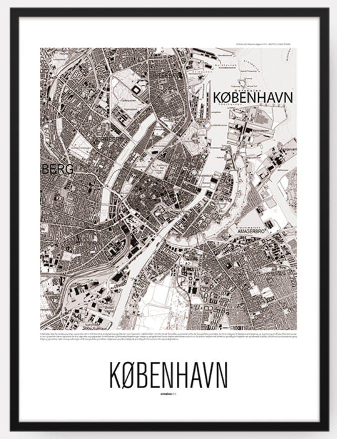 By kort plakat af københavn set oppefra i sort og hvid