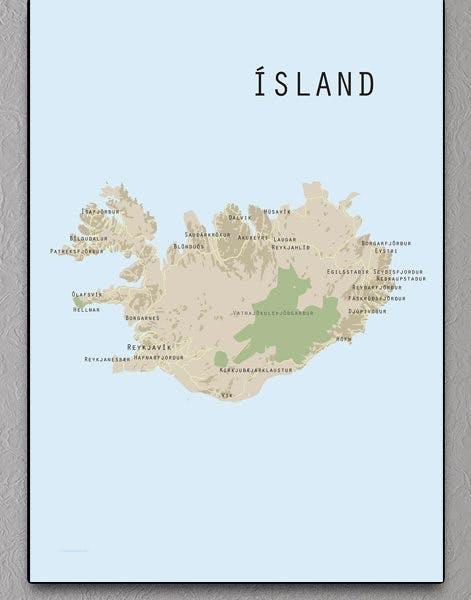 grafisk landkortsplakat af island set oppefra