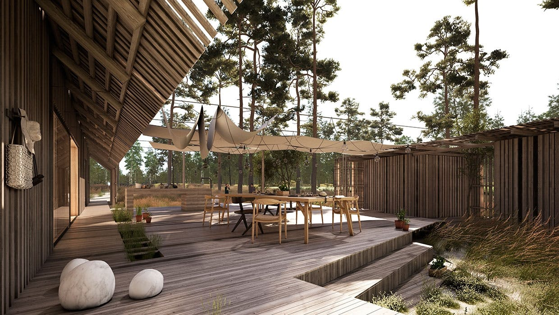 Erik Juul sommerhus med terrasse.