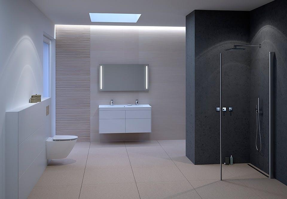 badeværelse indretning lys spejl skab med lys fra ifö geberit moderne løsninger