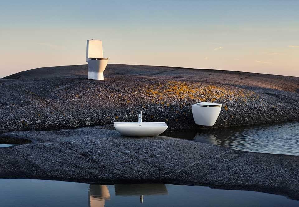 Ifö Spira Art håndvask toilet skandinavisk design badeværelse