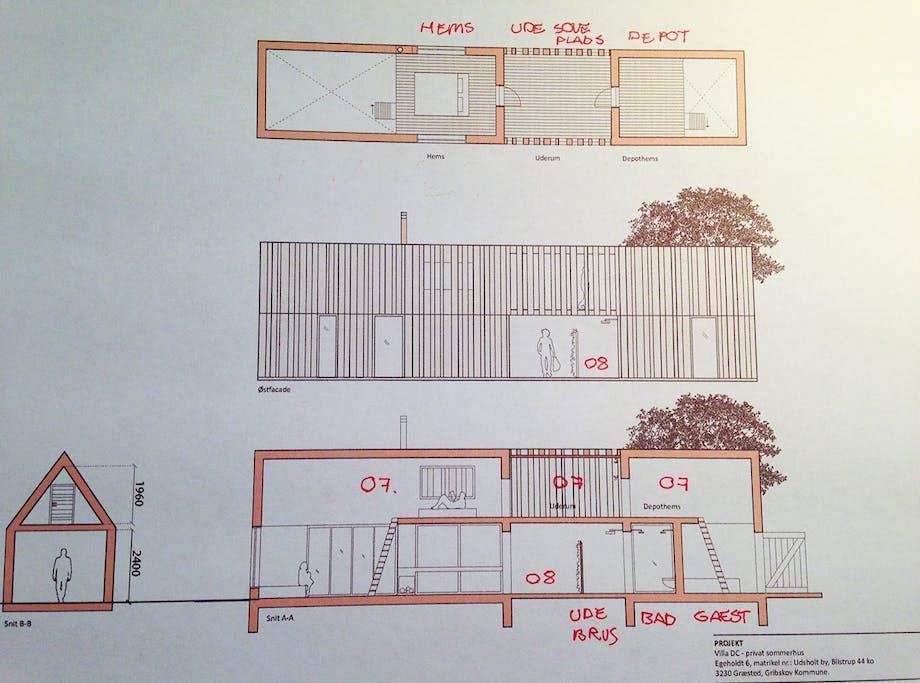 Arkitekttegninger af Erik Juuls sommerhus tegnet til Ditte Isager og hendes mand Christians sommerhus.