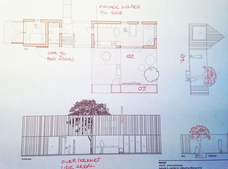 Tegningen af sommerhus med råd til dem, der vil have bygget nyt sommerhus.
